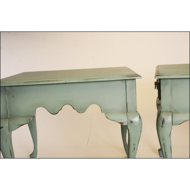 Vintage French Distressed Wood Side Tables - Pair - Image 10 of 11