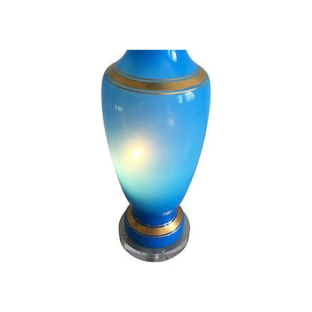 Blown Glass French Blue Opaline Lamp For Sale - Image 7 of 8