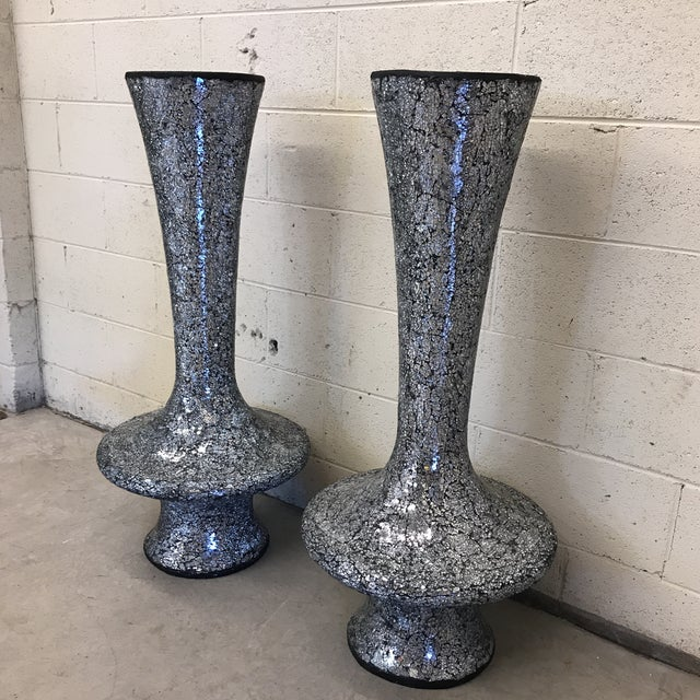 Contemporary Monumental Mirrored Tile Mosaic Urns - A Pair For Sale - Image 3 of 8