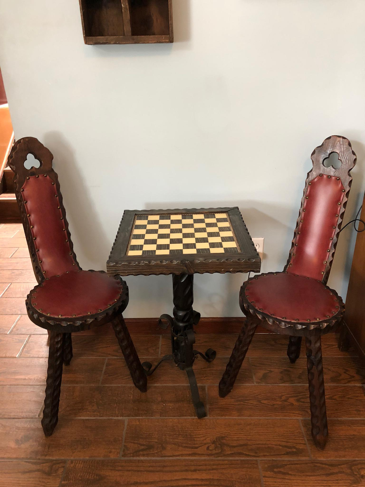 Vintage Spanish Carved Chess Table \u0026 Chairs - Set of 3 - Image 10 of 10  sc 1 st  Chairish & Vintage Spanish Carved Chess Table \u0026 Chairs - Set of 3 | Chairish