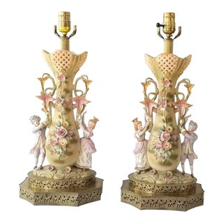 Mid Century Porcelain Renaissance Lamps - a Pair For Sale