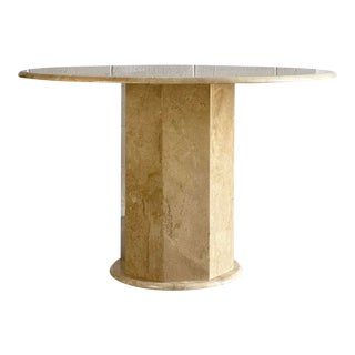 Italian Round Marble Stone Dining or Center Table For Sale