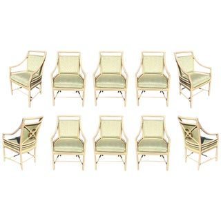 Contemporary McGuire Target Back Dining Chairs - Set of 10 For Sale