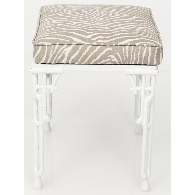 1960s Chinoiserie White Metal Bamboo Style Console and Bench For Sale - Image 5 of 12