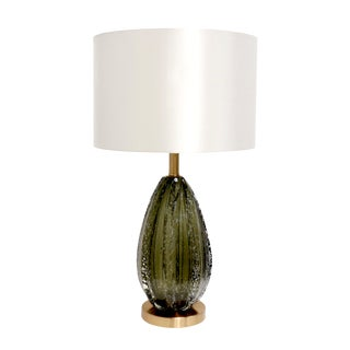 Pasargad Home Felicia Collection Modern Table Lamp Green Glass and White Drum Shade For Sale