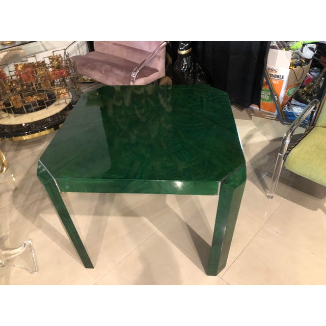Green Vintage Hollywood Regency Green Faux Malachite Chrome Dining Game Table For Sale - Image 8 of 11