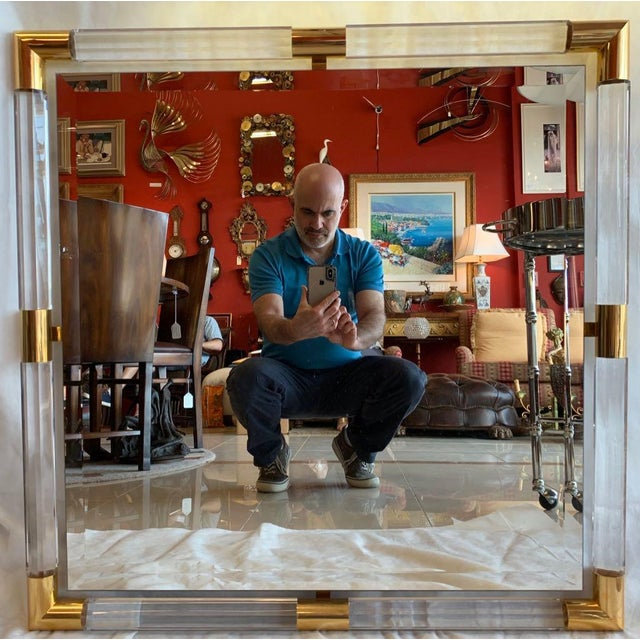 Charles Hollis Jones Style Lucite Mirror For Sale - Image 11 of 11