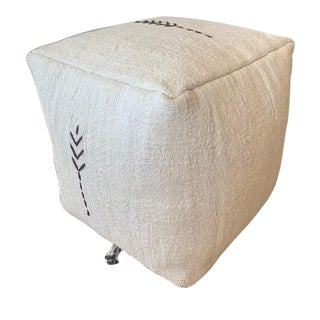 Boho Chic White and Black Detailed Hemp Pouf For Sale