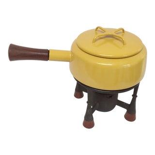 1965 Mid-Century Quistgaard Dansk Kobenstyle Yellow Enamel & Teak Fondue Set For Sale