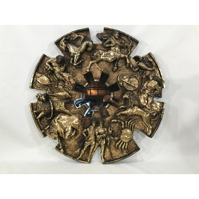 Gold Vintage Finesse Originals Brutalist Zodiac Wall Mirror For Sale - Image 8 of 13