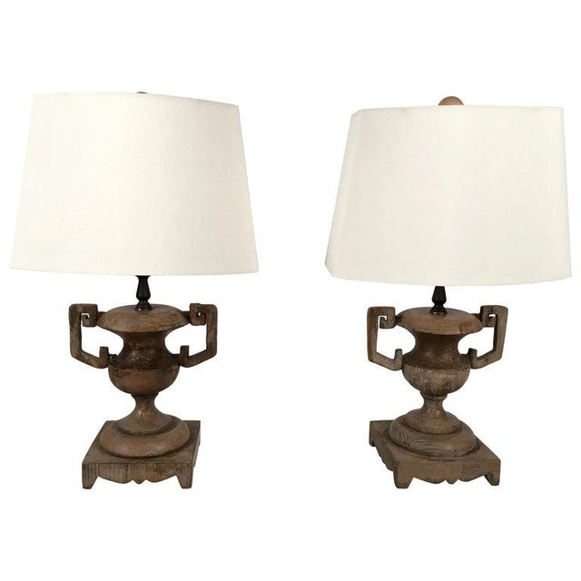 French Neoclassical Carved Wood Vase Lamps - a Pair For Sale - Image 10 of 10