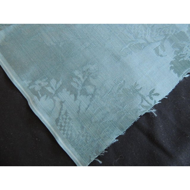 Late 19th Century Antique Blue Floral Silk Damask Textile Panel For Sale - Image 5 of 6