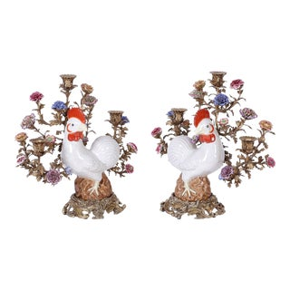 Bronze and Porcelain Chicken Candelabra - A Pair For Sale