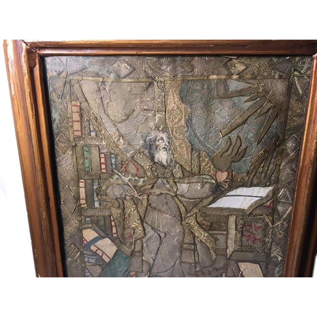 """Early 19th Century Early 19th Century """"Moses Reading Scriptures"""" Silk Textile Art, Framed For Sale - Image 5 of 9"""