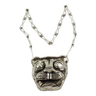 Guy Laroche Paris Signed Modernist Chrome Lion Medallion Pendant Necklace For Sale
