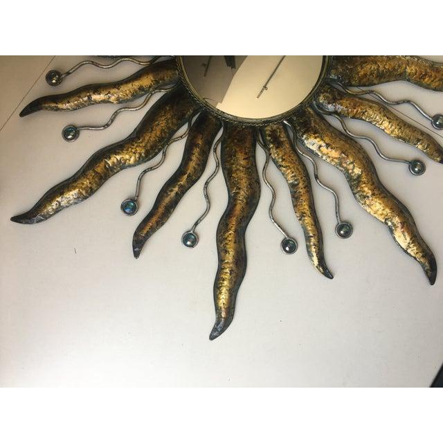 1960s Italian Gilt Metal Patinated Sunburst Mirror with Glasses - Image 2 of 7