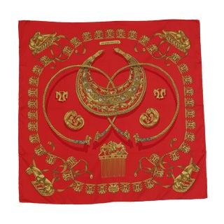 "Vintage Hermes Silk Scarf ""Les Cavaliers D'or"": C. 2000 For Sale"