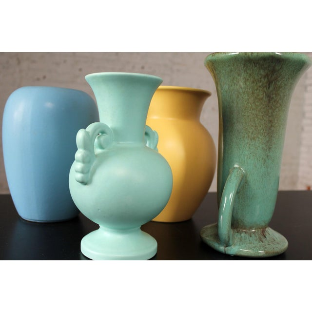 Vintage Collection of Mid-Century Pottery Vases - Set of 7 For Sale - Image 4 of 11