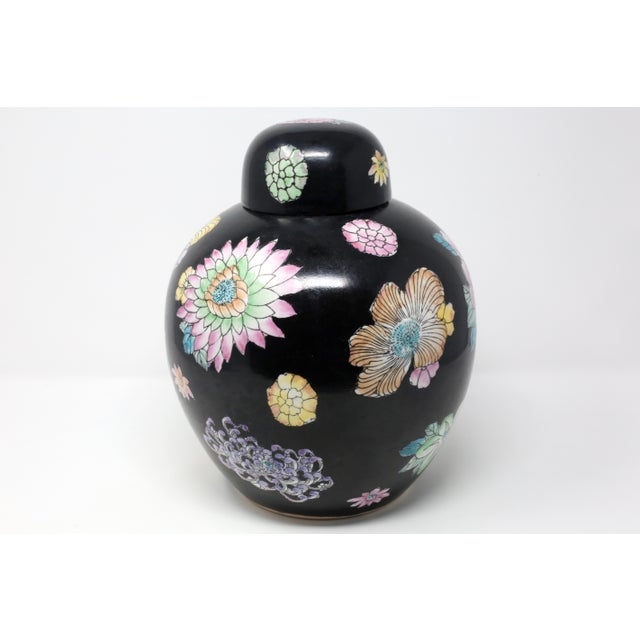 Black Hand-Painted Melon Jar With Flowers For Sale - Image 4 of 11