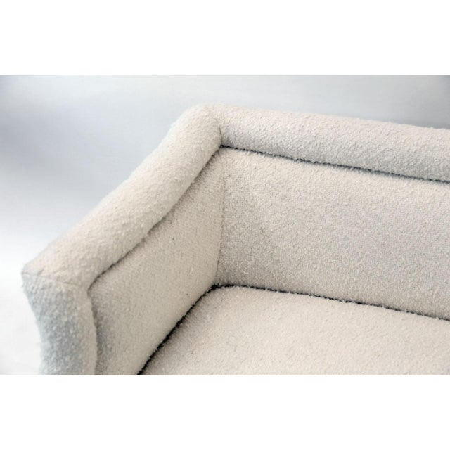 French Settee Upholstered in White Boucle For Sale - Image 10 of 12