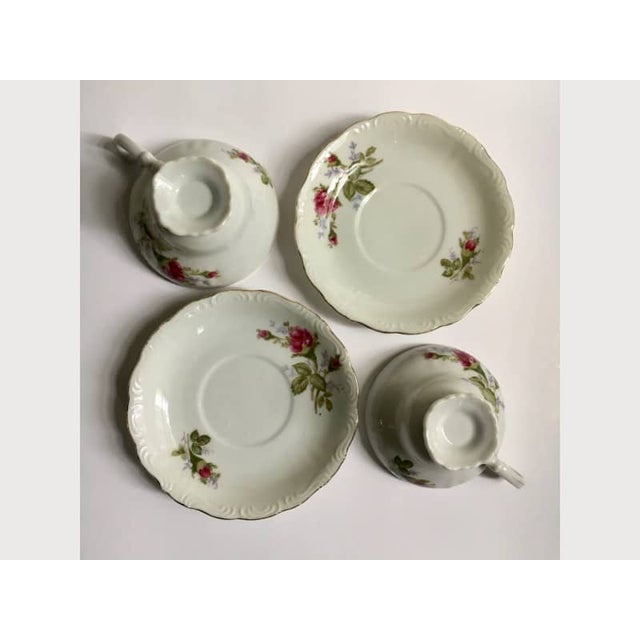 Footed Moss Rose Bone China Tea Cups - Service for 2 For Sale - Image 4 of 12