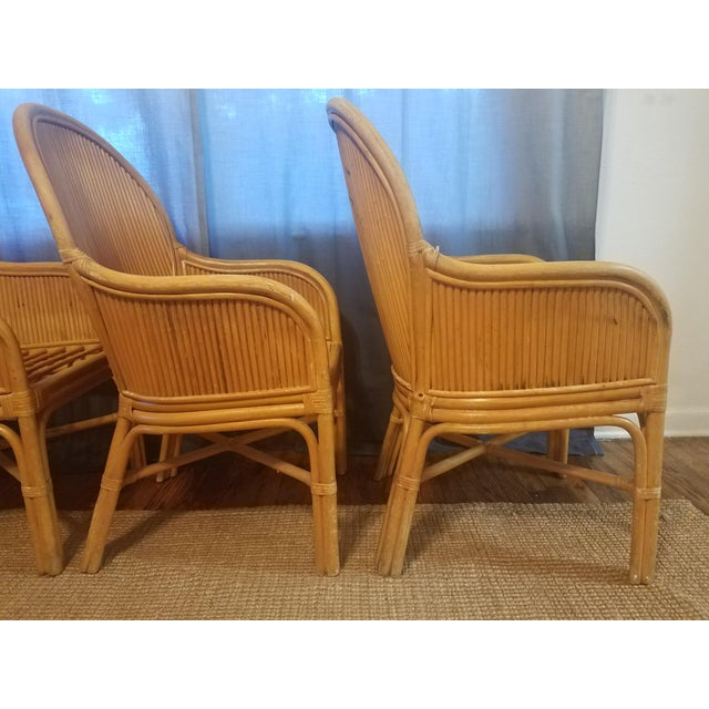 Yellow Palm Beach Pencil Reed Rattan Dining Chairs - Set of 4 For Sale - Image 8 of 10