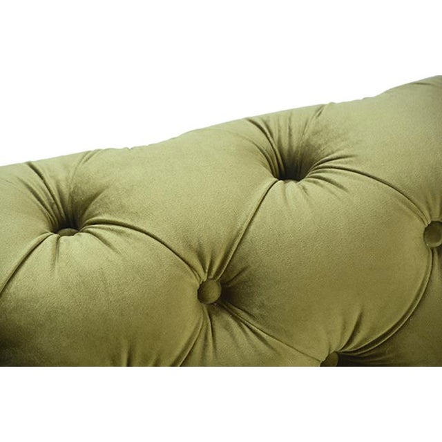 """Gorgeous olive green tufted velvet sofa with brushed metal legs and sturdy hardwood frame. Seat height is 18""""."""