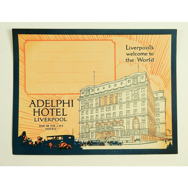 Circa 1928 vintage luggage label from the Adelphi Hotel in Liverpool England. Unused.