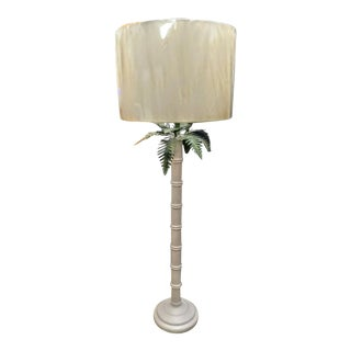 Tall Vintage Faux Bamboo Palm Frond Palm Beach Regency Floor Lamp For Sale