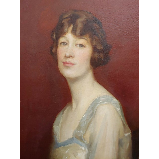 1910s Roland Hinton Perry -Portrait of a Woman in a Stylish Dress -C.1919 Oil Painting For Sale - Image 5 of 11