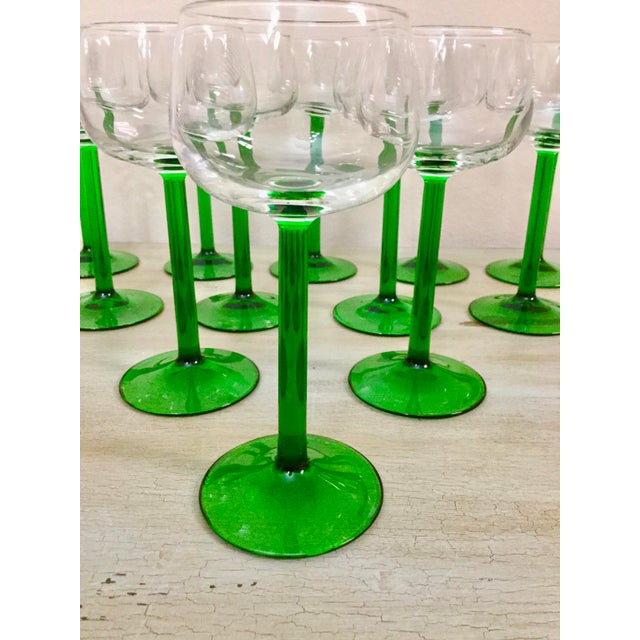 Bright Green 1960s Mid Century Cristal d'Arques Glasses - Set of 12 For Sale - Image 8 of 10