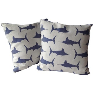 Marlin Indoor/Outdoor Pillows - A Pair For Sale