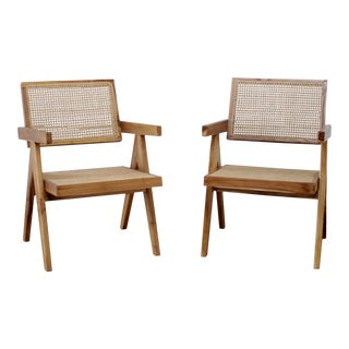 21st Century Jeanneret Style Accent Chairs- A Pair For Sale