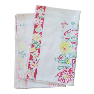 Vintage Floral Print Fabric Kitchen Tea Towels - a Pair For Sale