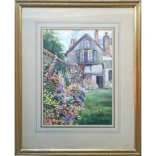 English Garden Watercolor by v. Spencer Woodward