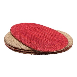 Reversible Oval Wicker Placemats - Set of 4 For Sale