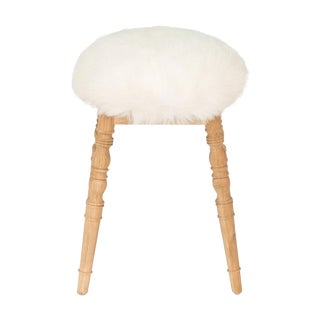 Sarreid Ltd. White Winoma Low Stool For Sale