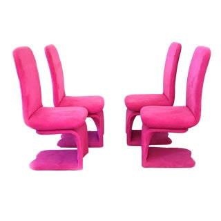 Modern Carson's Pink/ Fushia Upholstered Cantilever S Style Swivel Dining Room Chairs - Set of 4