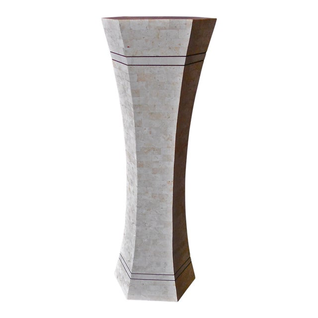 Marble and Brass Pedestal For Sale