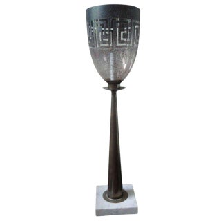 1960s Vintage Parzinger Style Brass, Glass and Marble Greek Key Table Lamp For Sale