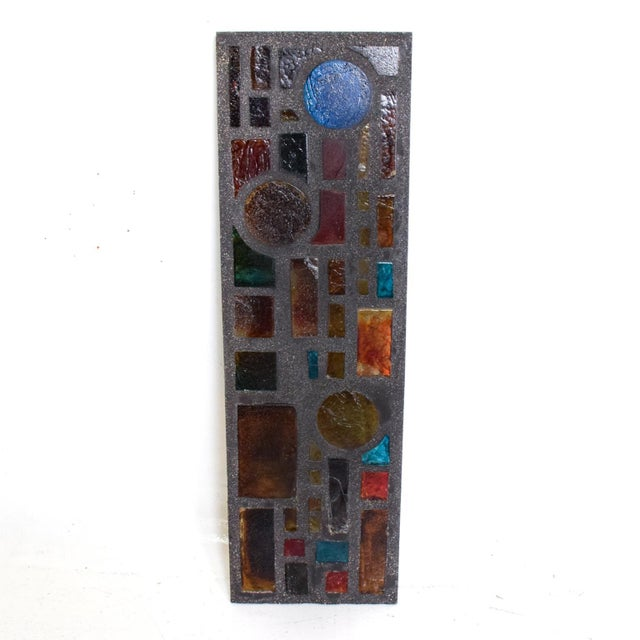 1980s Brutalist Period Architectural Wall Art Colored Glass Panel For Sale - Image 5 of 10