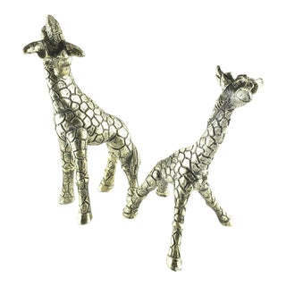 Mid 20th Century Jaru Giraffe Sculptures Mid Century Metallic Silver Pottery - a Pair For Sale