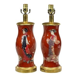 Japanese Decoupage Geisha Designer Lamps - A Pair