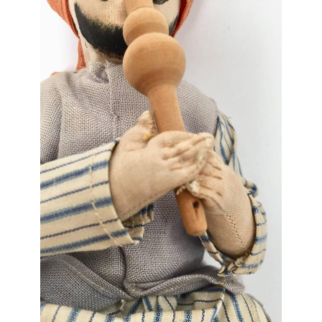 Mid 20th Century Handcrafted Anglo-Raj Vintage Stuffed Sitting Snake Charmer Doll, India For Sale - Image 5 of 7