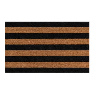 Erin Gates by Momeni Park Stripe Black Hand Woven Natural Coir Doormat - 1′6″ × 2′6″
