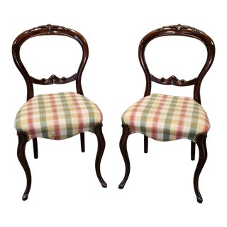 Pair 20th Century Victorian Style Mahogany Balloon Back Parlor Side Chairs C1960s For Sale