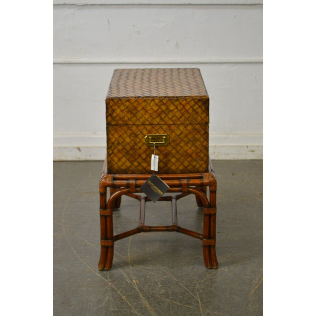 Maitland Smith Woven Leather Lidded Chest on Rattan Base For Sale - Image 9 of 11