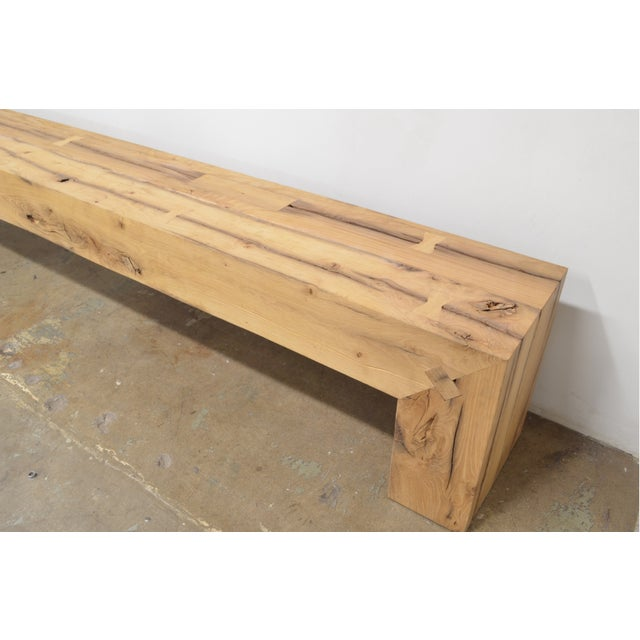 Contemporary OZShop Antique Oak Beam Waterfall Bench For Sale - Image 3 of 5