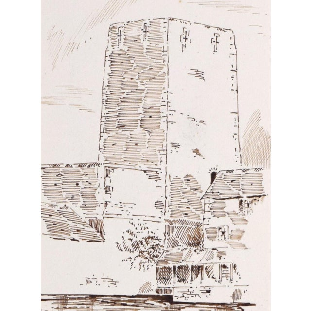 """1920s Antique English Pen & Ink Drawing """"Oxford Castle"""" of St George's Tower For Sale - Image 5 of 7"""