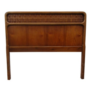 Mid-Century Modern Lane Furniture Twin Headboard With Woven Rattan Panel For Sale